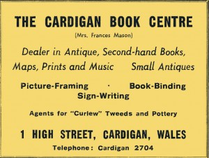Advertisement for Cardigan Book Centre, 1970 (Glen Johnson Collection)