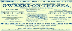 Advertisement for Gwbert, 1909 (Glen Johnson Collection)