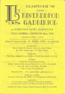 Cover of 1998 Eisteddfod Programme