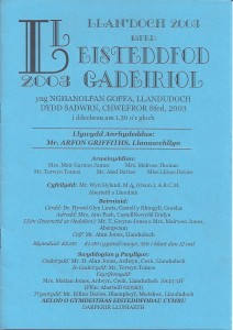 Cover of 2003 Eisteddfod Programme