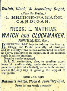 Advertisement for Frederick L. Mathias, 4 Bridge Parade, 27/11/1880 (Cardigan Observer)