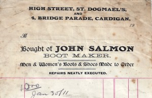 Bill-head, John Salmon, 4 Bridge Parade 30/01/1911 (Glen Johnson Collection)