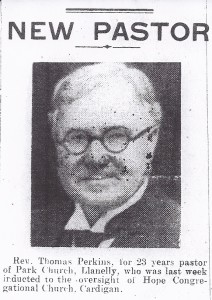 Rev. Thomas Perkins, new Minister of Hope Chapel, Pendre, 08/02/1946 (Cardigan & Tivy-Side Advertiser)