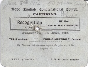 Invitation to Recognition Service of Rev. W Whittington, Minister of Hope Chapel, Pendre, 19/06/1912 (Glen Johnson Collection)