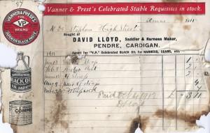 Bill-head from David Lloyd, No. 14 Pendre, December 1911 (Glen Johnson Collection)