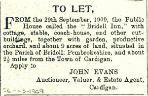 Bridell Inn to let, 26/03/1909 (Cardigan & Tivy-Side Advertiser)