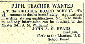 Pupil teachers wanted at Bridell School, 14/08/1886 (Cardigan & Tivy-Side Advertiser)