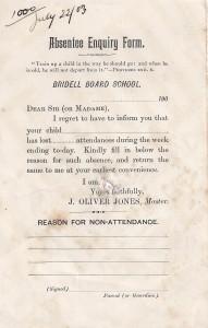 Absentee form, Bridell School, 22/07/1903 (Glen Johnson Collection)