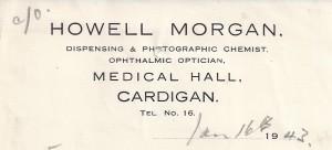 Bill-head for Howell Morgan, No. 59 Pendre, 16/04/1943 (Glen Johnson Collection)