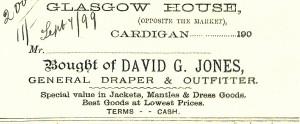 Bill-head for David G Jones, No. 59 Pendre 07/09/1899 (Glen Johnson Collection)