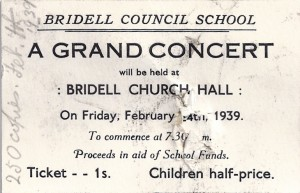 Ticket for a Bridell School Concert, 24/02/1939 (Glen Johnson Collection)