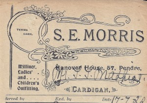 Bill-head for S E Morris, No. 57 Pendre, 17/07/1922 (Glen Johnson Collection)