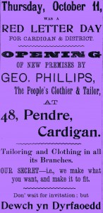 Poster for opening of Geo. Phillips', No. 48 Pendre, 11/10/1906 (Glen Johnson Collection)
