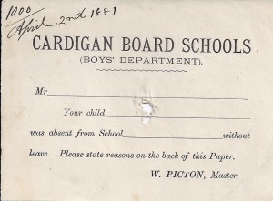 Blank Absentee form, Cardigan Board School 02/04/1881 (Glen Johnson Collection)