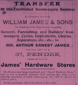 Advertisement for James' Hardware Store, No. 37 Pendre 24/10/1919 (Glen Johnson Collection)