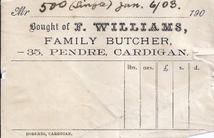 Bill head of F Williams, No. 35 Pendre, 06/01/1903 (Glen Johnson Collection)