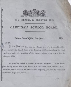 Cardigan Board School Blank absentee form 13/05/1901 (Glen Johnson Collection)