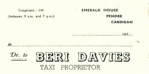 Bill-head of Beri Davies, No. 33 Pendre, circa 1955 (Glen Johnson Collection)