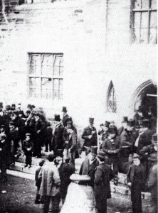 Councillors on the Guildhall steps circa 1870