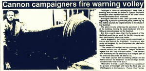 Guildhall Cannon under threat, Tivy-Side Advertiser 01/11/1991